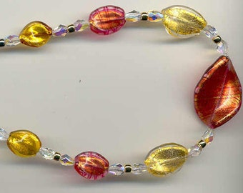 Murano Glass Colorful Twist Shaped 24 Karat Gold Foil Venetian Bead Necklace by Alessandro's Designs