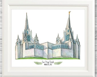 San Diego Temple Watercolor Art Print- Personalized Gift, Painting, Art, Wall Decor, Illustration, LDS Art, LDS Temple, Wedding Gift, Date