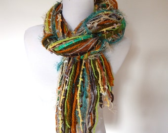 Skinny Fringy Multi Fiber Scarf Green Gold and Teal Tones Funky Knotted Style Lightweight Fashion Accessory