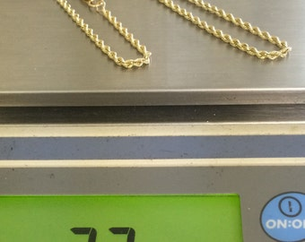 """14K SOLID Yellow Gold ROPE CHAIN 18"""" Necklace 7.7 Grams Beauty!!"""
