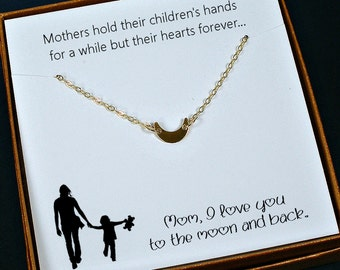 Gold Mom Necklace, Mom Gifts, Mom Birthday Gift, Meaningful Gifts for Mom, Unique Gifts for Mom, with mom card, love you moon and back