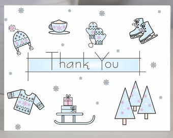 Snowy Winter Fun Thank You Note Card Set of 8