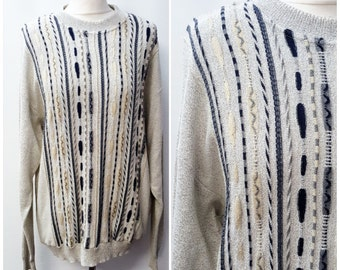 90's Beige Funky Stripy Jumper Embroidered Boho Sweater