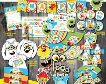 Monster Party Package, Monster Birthday Party, Printable Monster First Birthday, 1st Birthday party, DIY Monster Party Printable Decoration
