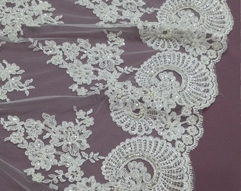 Beaded ivory lace fabric, Sequin lace, French lace, Alencon lace, Bridal lace, Wedding lace White lace Embroidered Floral lace yard EVS024CB