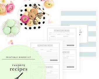 Favorite Recipes Binder Kit  - A Printable PDF