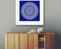 Oversized wall art statement large print 30x30 poster navy blue white decor mandala artwork boho chic wedding decoration gypsy wedding gift