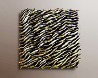Textured Wall Tile - Wall Sculpture - Squared Wall Panel -  Textured Abstract  Painting - Wood Wall Decor - Wall Art