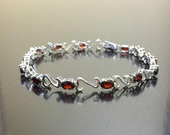 Sterling Silver Garnet Bracelet - Silver Garnet Heart Bracelet - Silver Heart Garnet Link Bracelet - Garnet Tennis Bracelet - Oval Bracelet