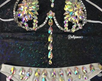 Full Iridescent Rihanna Samba Bra, Samba Outfit,Carnival Outfit, Fitness Bikini, Samba Costume, Burlesque Costume, Show Girl Costume