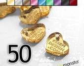 Custom Jewelry Tags - 50 pcs, heart shaped, mirrored, choose color, your text, engraved