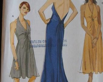 Vintage Vogue V8448 Formal Fitted Halter Dress Evening Dress Size 12 14 16 18