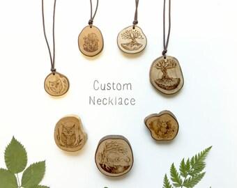 Custom necklace - illustrated on organic wood