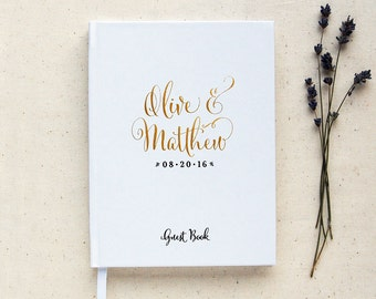 Wedding Guest Book #2 - Hardcover - Wedding Guestbook Wedding Guest Books Custom Guest Book Personalized Guestbooks - Gold Calligraphy
