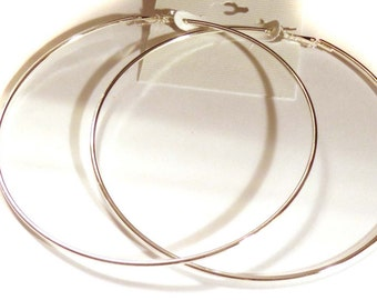 LARGE 4.25 inch Hoop Earrings Plated Silver tone Classic Thin Hoop Earrings