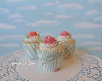 Fake Cupcake Set 3 Cottage Shabby Chic Victorian Rose Tea Cakes Decor Photo Prop Marie Antoinette English French