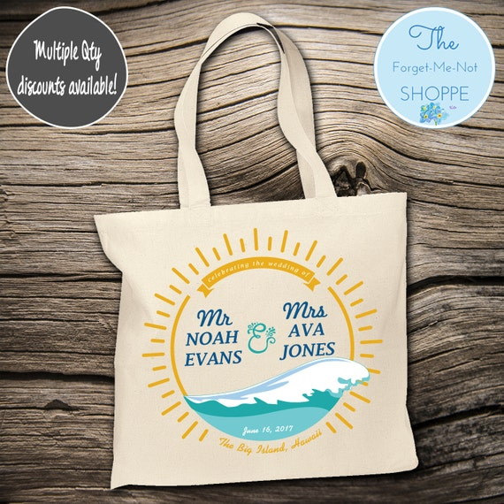 Tropical Beach Wave Theme Wedding Tote Bag ~ Bride to Be tote bag, Nautical, bachelorette ,Mother,  party tote, Wedding Favor, Gift Tote