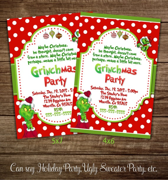 Grinch Christmas Party Invitation
