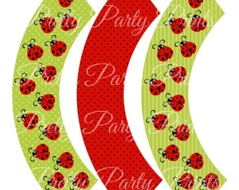 Red LadyBug Cupcake Wrappers Birthday Party Printable Digital Instant Download