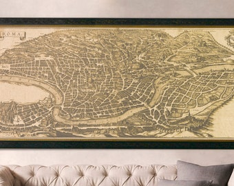 Rome Map Print : Vintage 17th Century Map of Rome drawing art print poster