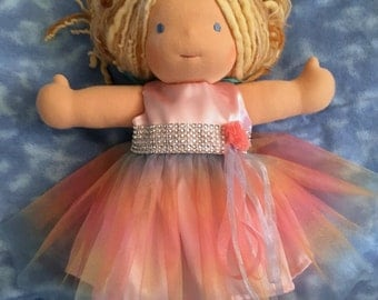 "Pink Satin Party Dress for Waldorf  15"" Doll -"
