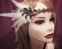 Mardi Gras gold purple green sequin beaded flapper headband head piece headpiece hair piece head gatsby inspired 1920s feather ivory (617)