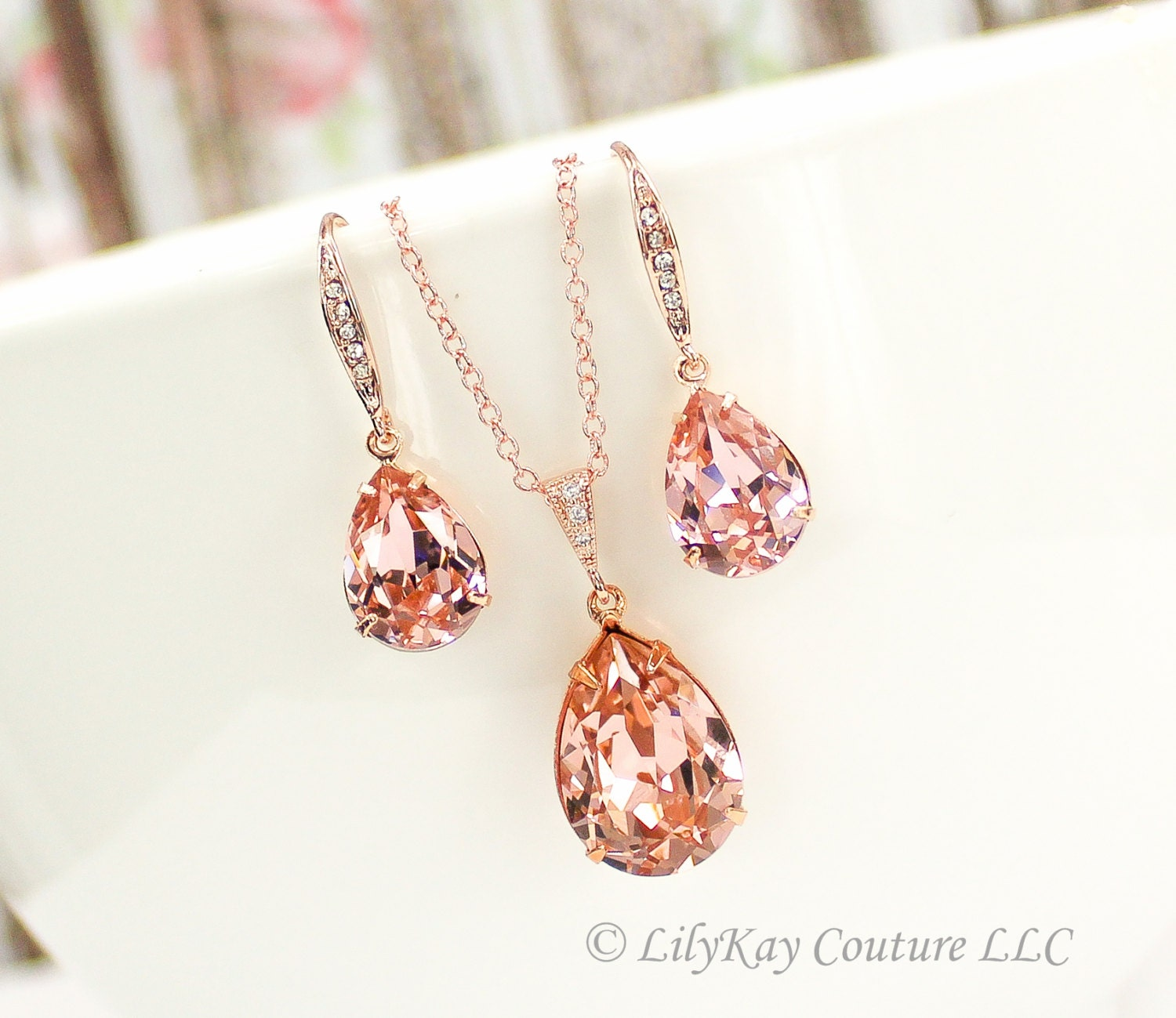 rose gold earrings blush pink rose gold bridesmaid jewelry. Black Bedroom Furniture Sets. Home Design Ideas