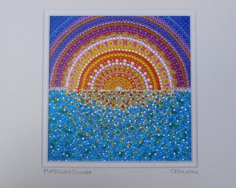 Moroccan Sunset - Dotillism - Print - Mounted and wrapped - signed and titled - unframed