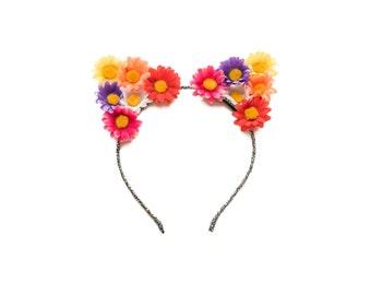 Día de los Muertos Cat Ear Headband, Floral Cat Ears, Kitty Ears Headband, Day of the Dead Headpiece, Halloween Headband, Halloween Costume