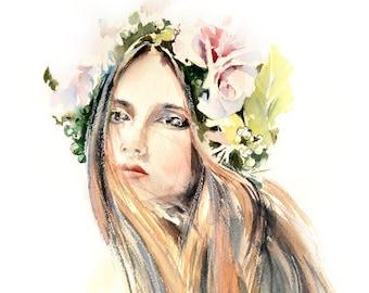 Woman Portrait Painting, Original Watercolor Painting, Watercolour Modern Art
