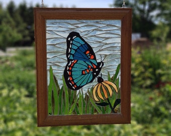 Blue Stained Glass Butterfly Mosaic Panel - Red Spotted Purple Butterfly Stained Glass Panel - Blue Admiral Butterfly Mosaic Butterfly Panel