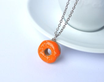 Miniature cute orange icing donut with sprinkles charm necklace pendant kawaii sweet silly food jewelry
