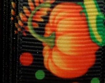 "2 Yards 7/8"" Midnight Pumpkin Jack o Lantern and Ghost Grosgrain Ribbon Print"