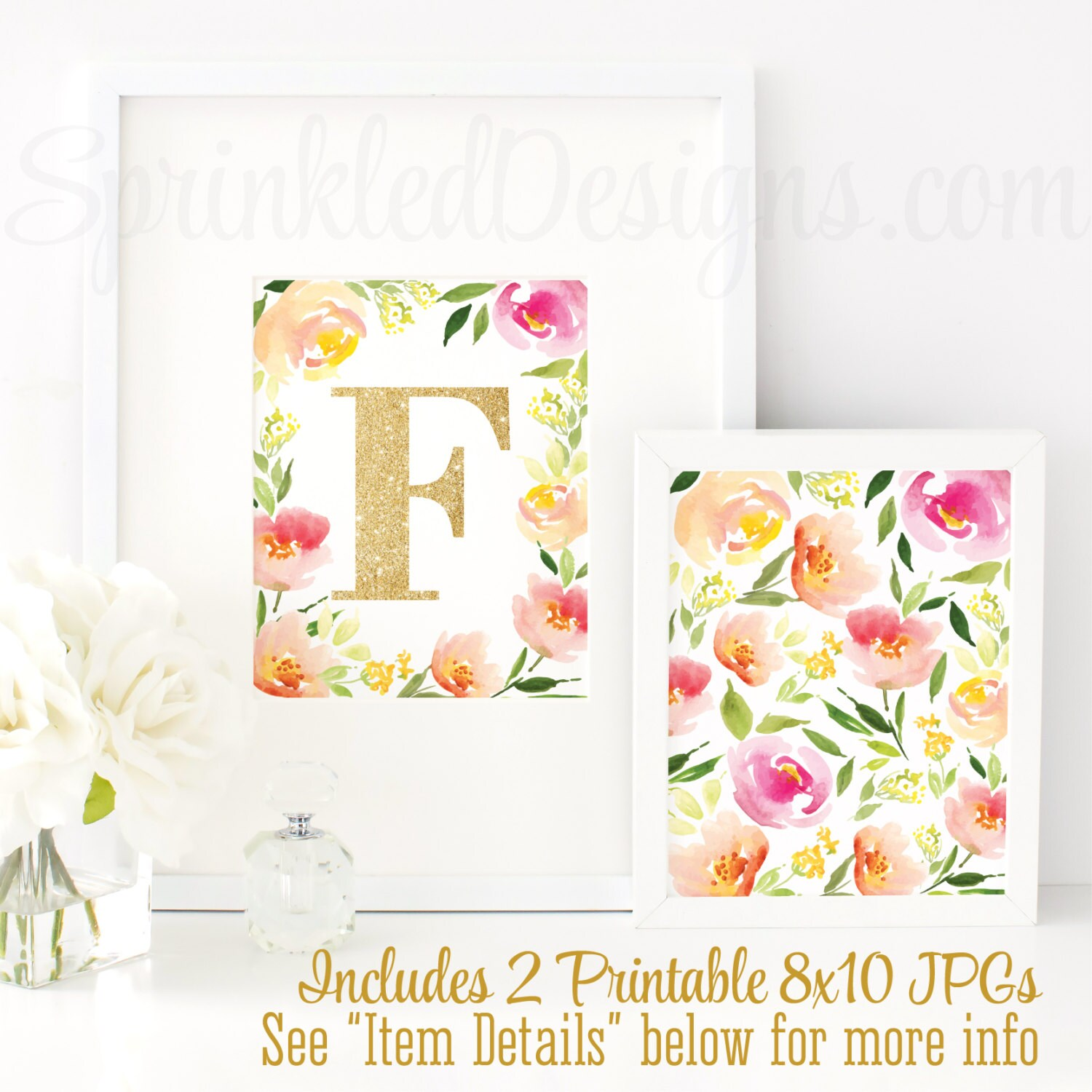 Floral nursery decor nursery letter f baby girl nursery for Letter f decoration