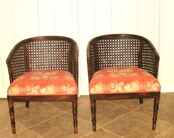 FAUX BAMBOO VINTAGE Barrel Chairs Hollywood Regency...Set of 4