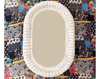"28"" Vintage White Wicker Mirror - Vintage Oval Wicker Mirror - Vintage Large Wicker Mirror - Shabby Chic Mirror - White Wicker Shabby Mirror"