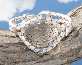 white braided leather Bracelet