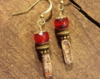 Boho Earrings, Picasso Earrings, Red Earrings, Drop Earrings, Dangle Earrings