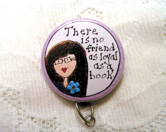 retractable id badge holder for teacher,librarian,school librarian,book lover.lavender id badge reel with charm attached