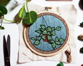 NOVEMBER PHILODENDRON PATTERN - Pdf Embroidery Pattern - Modern Houseplant Embroidery Pattern by Sarah K. Benning - #skbdiy - Hanging Basket