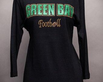 Green Bay Football 3/4th-Sleeve Black Rhinestone Shirt