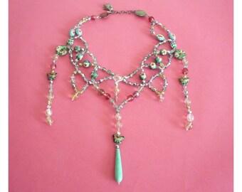 LOULOU De La FALAISE ~ Authentic Vintage Blue Green Pink Cloisonne Beads Maharaja Necklace - LF