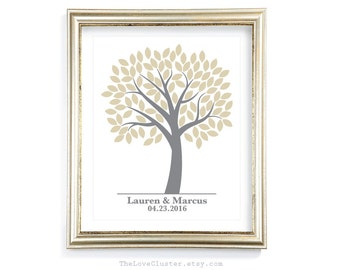 Wedding Tree Guestbook Print / 16x20 / 100 Guests / Signature Guest Book Alternative / Guest Book Poster / Personalized Wedding Print