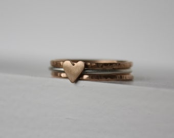 Tiny Heart Stacking Ring Set, Bronze Anniversary, Stack Rings, Sterling Silver Ring, Stackable Rings, Skinny Rings, Gift for Her, Midi Rings