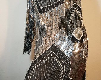 FREE  SHIPPING  Vintage Couture Silk Bead Sequin Gown