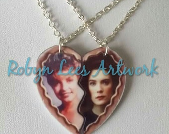 Twin Peaks Inspired Best Friends Necklaces with Split Heart of Laura Palmer & Donna Hayward on Silver, Gold or Gunmetal Chain or Black Cord