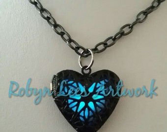 Limited Edition Black Enamel Glow in the Dark Heart Necklace on Gunmetal Chain, Different Glow Colours Available inc Blue, Lilac, Green, Red