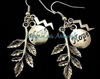Natural Hope Earrings with Silver Branch of Leaves, Lightning Bolt Strike and Hope Engraved Silver Disc