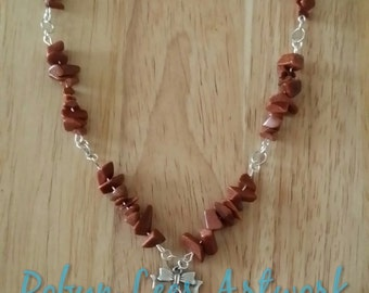 Gold Sandstone Necklace With Silver Bow, Stone in Setting and Gold Sandstone Chip Beads