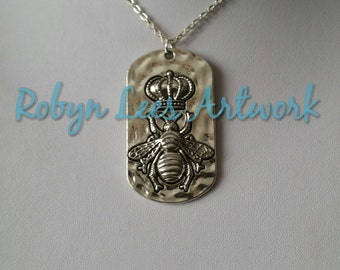 Large Silver Queen Bee Dog Tag Style Pendant Necklace with Crown and Honey Bee on Silver Crossed Chain, Nature, Honeycomb, Hive
